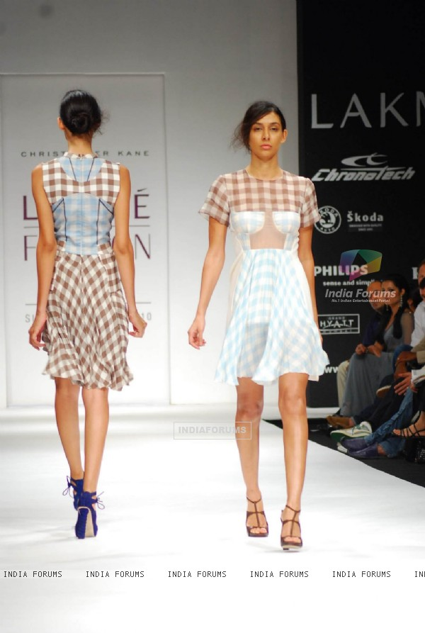 Models walk on the ramp for designer Christopher Kane at Lakme Fashion Week 2010
