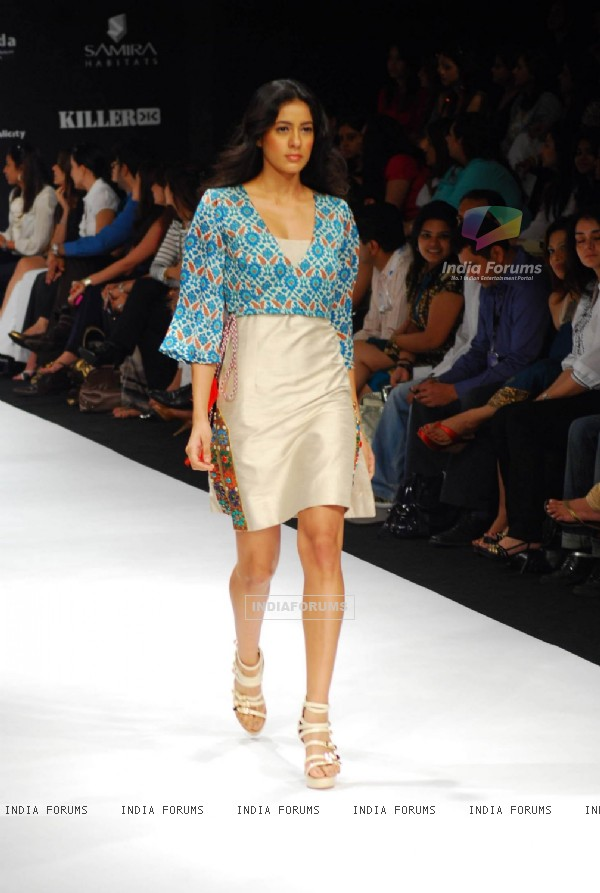 Model walks on the ramp for Lina Tipnis at Lakme Fashion Week 2010