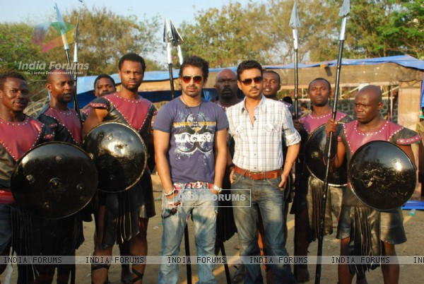 Irfan Khan and Ranvijay of the sets of MTV Roadies at Andheri