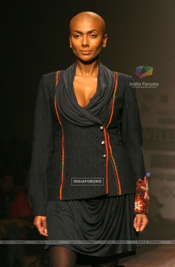 A Model showcasing designer Payal Jain''s creation at the Wills Lifestyle India Fashion Week 2010, in New Delhi on Friday