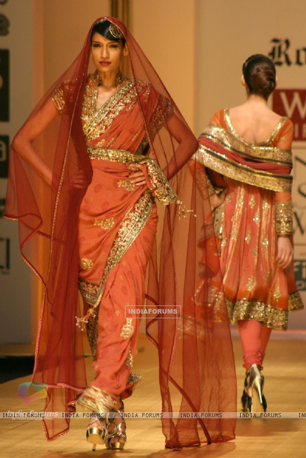 Models showcasing designer Rocky S creations at the Wills Lifestyle India Fashion Week 2010, in New Delhi on Friday