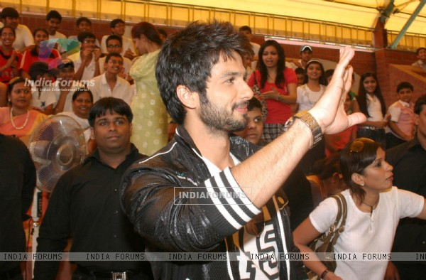 "Bollywood actor Shahid Kapoor visited his old school ""Gyan Bharti"" in New Delhi 14 April 2010 to promote his film ""Paathshala"" and revive his childhood memories"