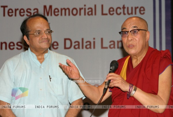 "Tibetan spiritual leader Dalai Lama with IGNOU Vice Chancellor V N Rajasekharan Pillai at the Mother Teresa memorial lecture ""Mother and compassion'''' at Indira Gandhi National Open University, in New Delhi on Friday"