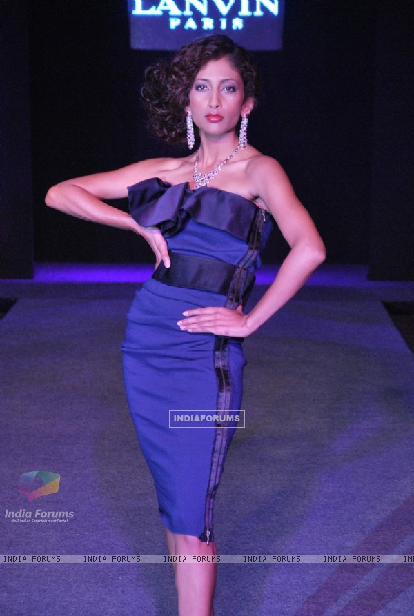 Model wearing collections of Lanvin, Stella McCartney and Moschino- the collections were launched by Priya Chatwal and Charu Sachdev in Mumbai