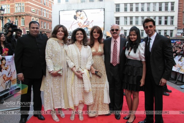 Suzanne Roshan, Rakesh Roshan and Hrithik Roshan attends the European premiere of ''Kites'' at Odeon West End in London