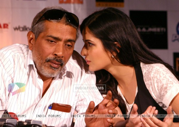 "Bollywood actress Katrina Kaif and director Prakash Jha at the press conference for their film ""RAJNEETI"",in New Delhi on Thursday"