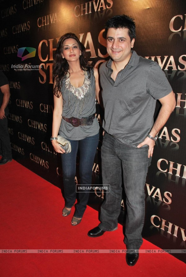 Bollywood actress Sonali Bendre and her husband, filmmaker Goldie Behl at the Chivas Studio at Aurus in Mumbai Sunday