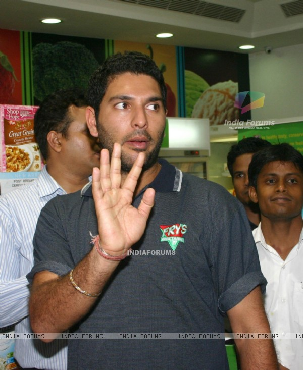 Cricketer Yuvraj Singh at the lunch of South African brand Fry''s at the Godrej Nature''s Basket store in New Delhi on Thursday