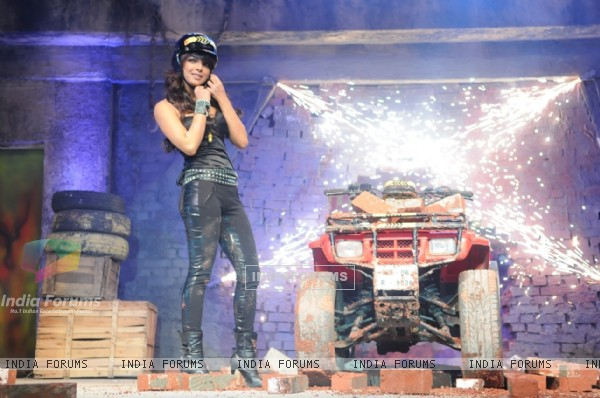 Priyanka Chopra makes an entry on a bike at the launch of Fear Factor-Khatron Ke Khiladi 3