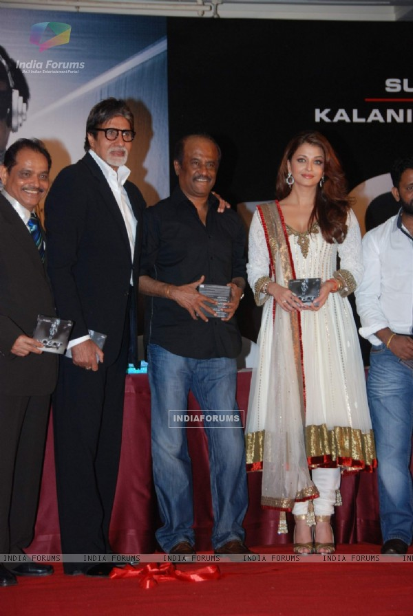 Amitabh Bachchan, Aishwarya Rai and Rajnikant at Robot music launch at JW Marriott