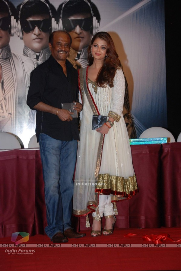 Aishwarya Rai and Rajnikant at Robot music launch at JW Marriott