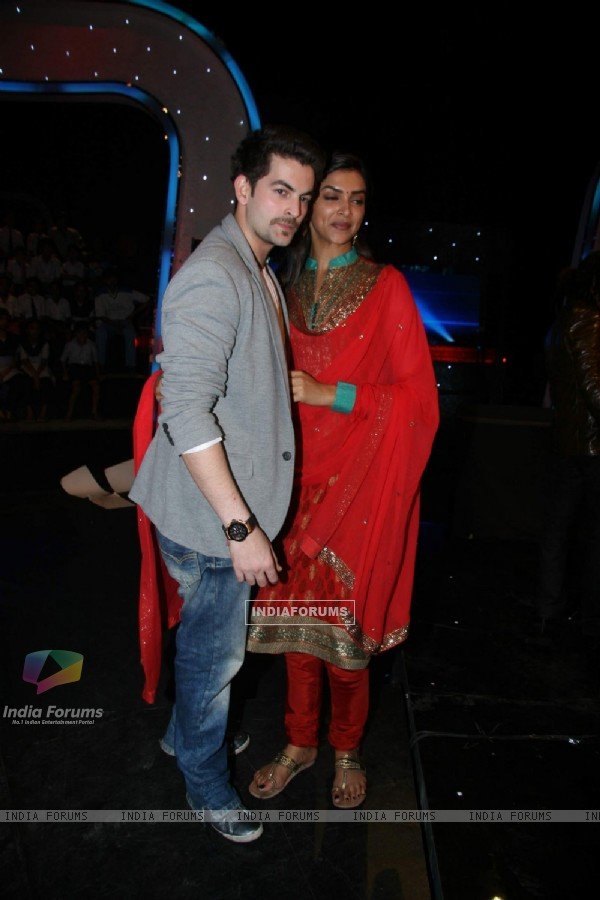 Deepika Padukone and Neil Nitin Mukesh on the sets of Chote Ustad at Mehboob Studio