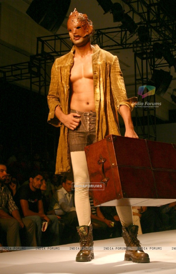 "A model showcasing designer Samant Chauhan''s creation at the ""Ven Heusen India Mens Week"" , in New"