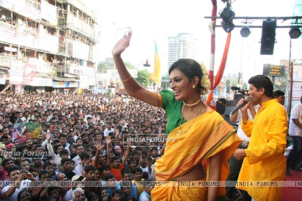 Sayali Bhagat at Worli Dahi Handi celebrations at Worli in Mumbai on Thursday Evening