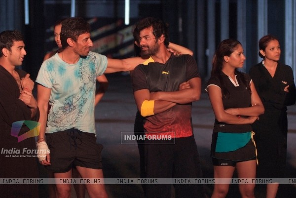 Rahul Dev and Shabir at night shoot