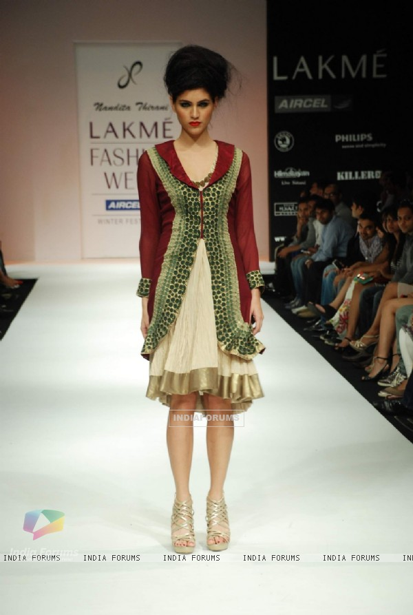 A model on the ramp for Nandita Thirani's creation at the Lakme Fashion Week