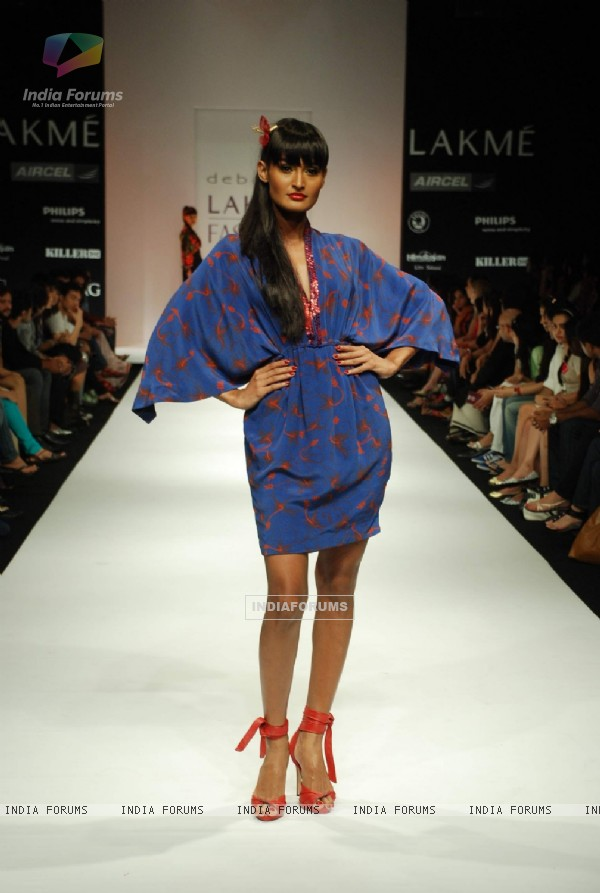A model on the ramp for Debarun's design at the Lakme Fashion Week