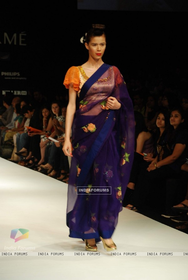 A model on the ramp for designer VJ Balhara at Lakme Fasion Week