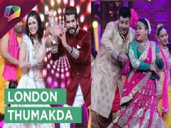 Bharti Singh, Kishwer Merchant and Suyyash Rai dancing on London Thumakda