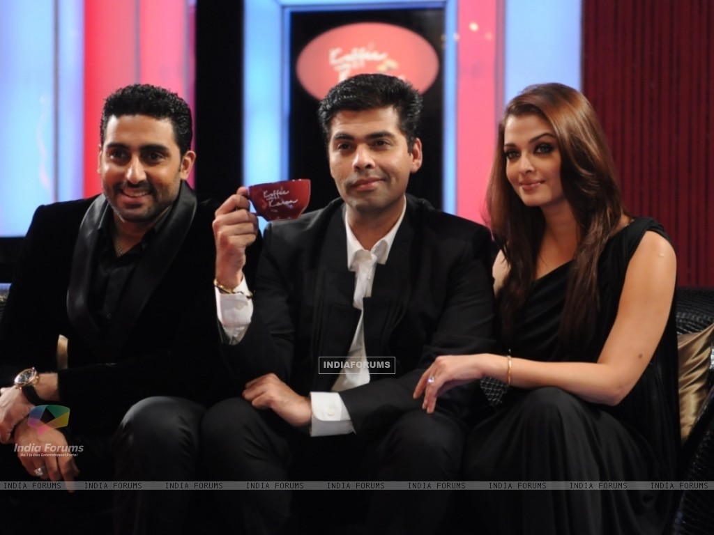 Aishwarya and Abhishek with Karan Johar on the sets of Koffee with Karan (106739) size:1024x768