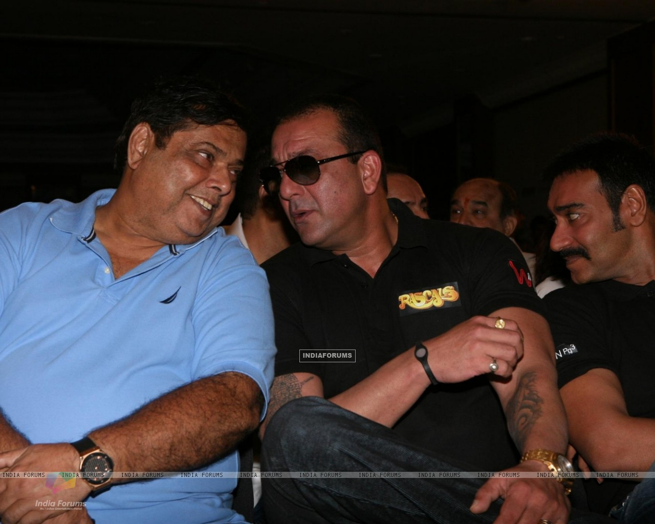Sanjay Dutt, Ajay Devgn and David Dhawan at Film 'Rascals' music launch at Hotel Leela in Mumbai (158913) size:1280x1024