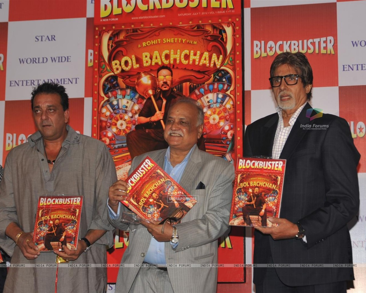 Sanjay Dutt, TP Agarwal & Amitabh Bachchan at Launch of T P Aggarwal's trade magazine 'Blockbuster' (211813) size:1280x1024