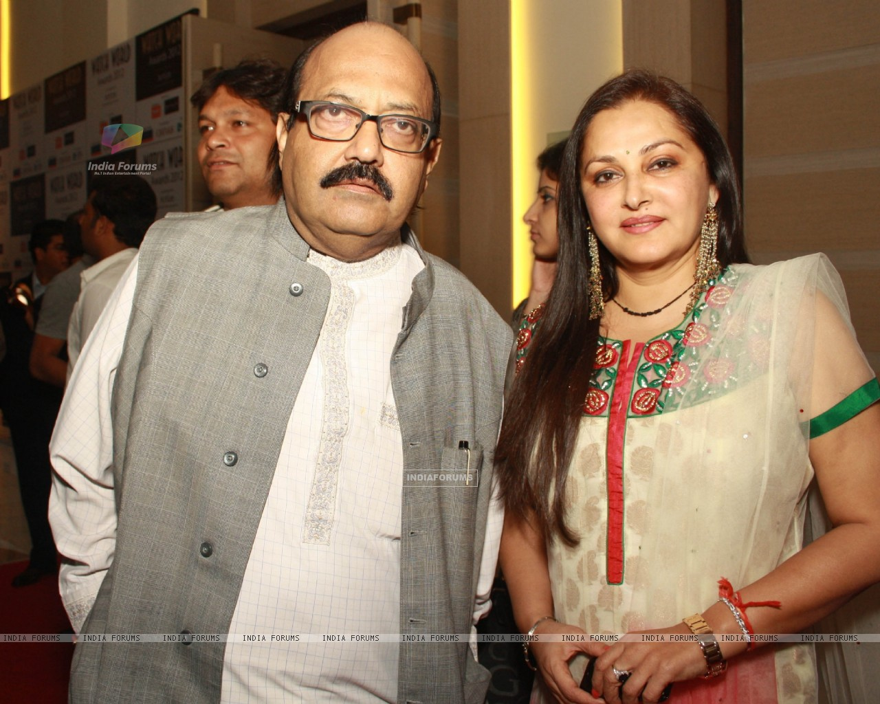 Amar singh and Jayaprada at the  Watch World Awards Function at Gurgaon in Haryana. (Photo: IANS/Amlan) (231878) size:1280x1024