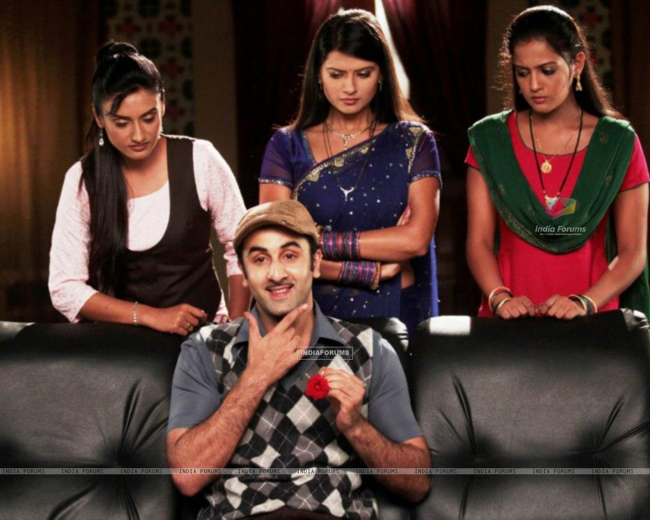 Ranbir Kapoor with Zee TV actresses (231902) size:1280x1024