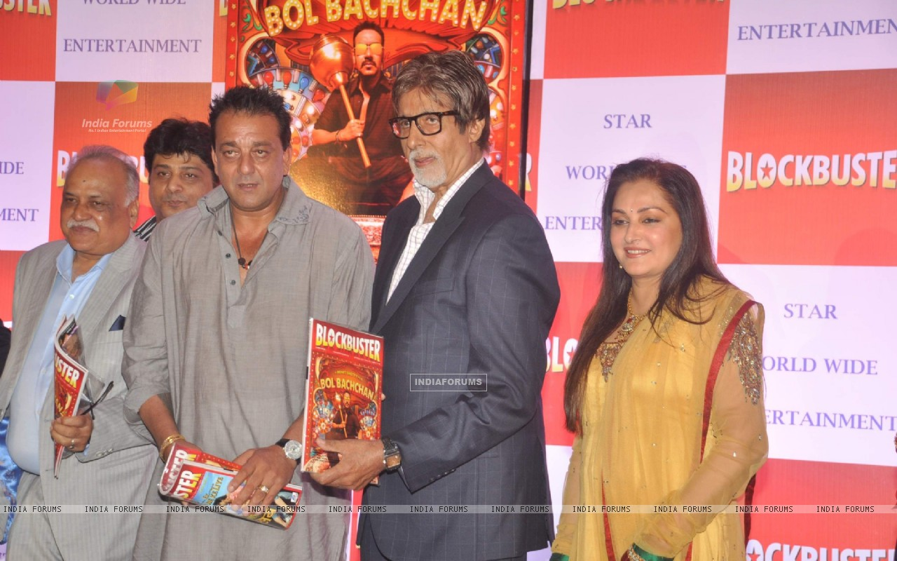 Bollywood actors Sanjay Dutt, Amitabh Bachchan and Jaya Prada at Blockbuster magazine launch in Novotel, Mumbai. . (211781) size:1280x800