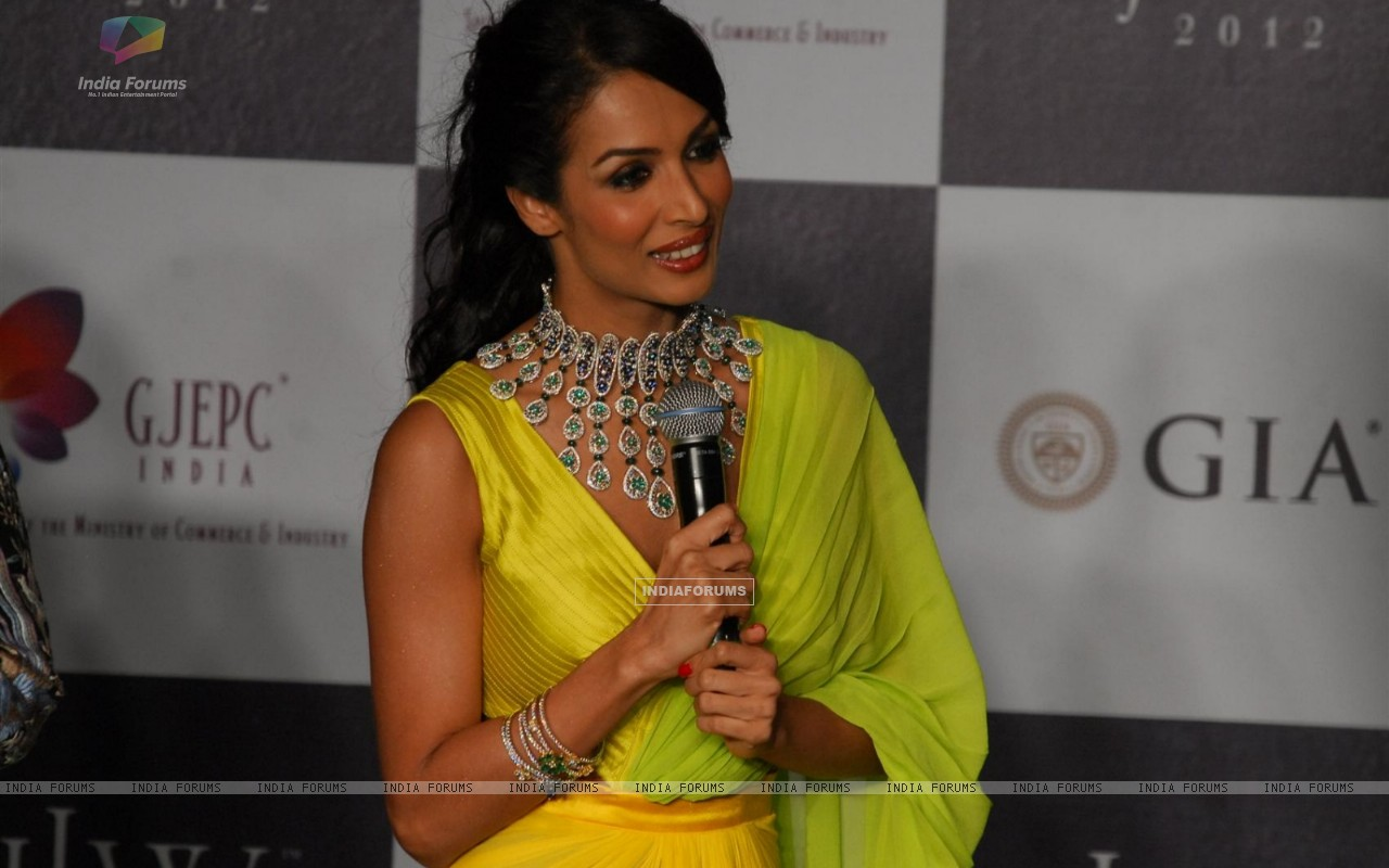Malaika Arora Khan as showstopper at KGK Entice show on Day 4 of IIJW 2012 (222204) size:1280x800
