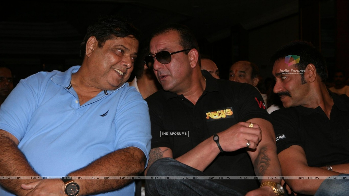 Sanjay Dutt, Ajay Devgn and David Dhawan at Film 'Rascals' music launch at Hotel Leela in Mumbai (158913) size:1366x768