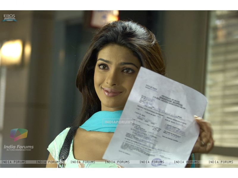 Priyanka Chopra with a confirmation letter (11829) size:800x600
