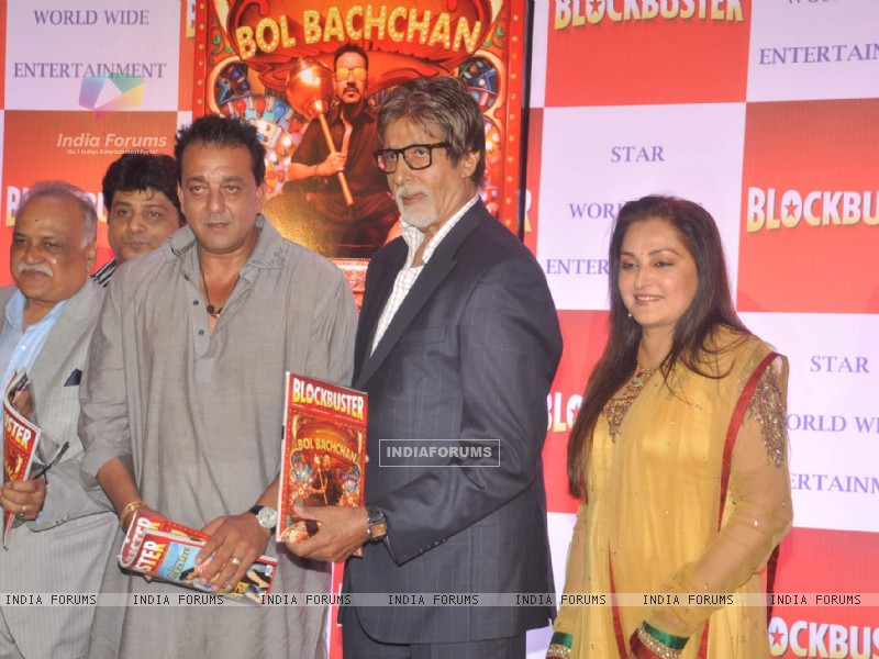 Bollywood actors Sanjay Dutt, Amitabh Bachchan and Jaya Prada at Blockbuster magazine launch in Novotel, Mumbai. . (211781) size:800x600