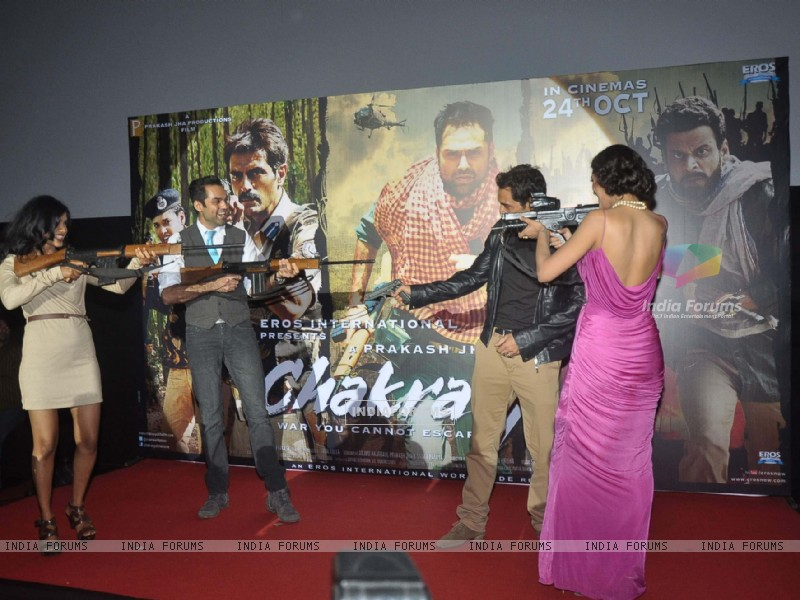Bollywood actors Arjun Rampal and Abhay Deol at the launch of Prakash Jha's 'Chakravyuh' in Cinemax, Mumbai. . (220474) size:800x600